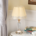Font Clear Crystal Table Lamp Traditional Single Bulb Bedroom Night Stand Light with With Braided Trim Fabric Shade