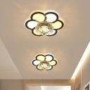 LED Flushmount Light Modern Corridor Ceiling Light Fixture with Flower/Leaf Clear Crystal Shade