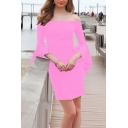 Popular Womens Solid Color Bell Sleeve Off the Shoulder Short Sheath Dress