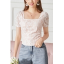 Formal Ladies Applique Lace Puff Sleeve Square Neck Slim Fit T-shirt in Apricot