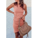Stylish Solid Color Sleeveless Crew Neck Short Bodycon Tunic Tank Dress