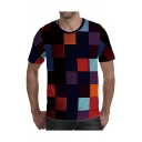 Unique T-Shirt Square Blocks Geometry 3D Printed Short Sleeve Crew Neck Regular Fitted T-Shirt for Men