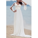 Middle East Bell Sleeve Sweetheart Neck Sheer Lace Panel Long Flowy Dress in White