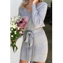Warm Winter Solid Color Knit Striped Bow Tie Backless Long Sleeve V Neck Slim Fit Short Bodycon Dress for Sexy Ladies