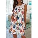 Popular Allover Flower Printed Sheer Lace Panel Sleeveless Round Neck Short Swing Tank Dress for Women
