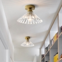Clear Prismatic Glass Conical Ceiling Lamp Classic 1 Head Corridor Flush Mount Light Fixture in Brass