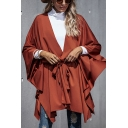 Fashionable Womens Plain Bow Tie Waist Dolman Sleeve Open Front Asymmetrical Oversized Cardigan Cape Coat in Brick Red