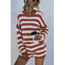 Novelty Womens Striped Print Color Block Crew Neck Long Sleeve Loose Fit Pullover Knit Sweater & Shorts Set in Khaki