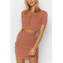 Stylish Womens Solid Color Cable Knit Short Sleeve Crew Neck Button Up Regular Fit Sweater & Slit Short Sheath Skirt Co-ords