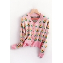 Cute Floral Print Button Up Long Sleeve V Neck Fitted Cropped Cardigan Sweater for Girls