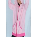 Girls Cute Pink Unicorn Design Long Sleeve Zip Up Fitted Hoodie