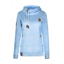 Women's Leisure Striped Pattern Funnel Neck Long Sleeve Thick Drawstring Hoodie
