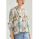 Popular Womens Hollow Out Lace Patchwork Plant Horse Print Notched Collar 3/4 Sleeve Loose Fit Shirt in White