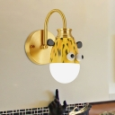 Giraffe/Horse/Monkey Wall Lighting Idea Cartoon Metallic 1 Light Kids Room Wall Mount Lamp with Gold Arced Arm