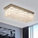 Rectangle Clear Crystal Ceiling Fixture Modernism LED Chrome Flush Mount Lighting in Warm/White Light for Living Room