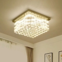 Crystal Rod Square Flush Mount Lamp Contemporary LED Chrome Close to Ceiling Light in Warm/White Light for Living Room