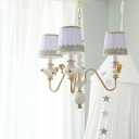 3/5/6 Lights Gold Cone Suspension Lamp Minimalist Fabric Hanging Chandelier with Teapot and Curved Arm Design