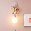 Unicorn Resin Wall Lamp Macaron 1 Head White Wall Mounted Lighting with Spherical Shade in Blue/Pink