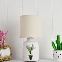 Simple Cylindrical Table Light Paper 1 Bulb Bedside Nightstand Lamp with Vase Base in White