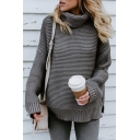 Stylish Ladies Long Sleeve Cowl Neck Asymmetric Chunky Knit Oversize Pullover Sweater in Grey