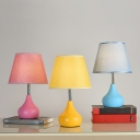 1 Bulb White/Pink/Yellow Conic Desk Lamp Simplicity Fabric Shade Night Table Light with Drop-Like Base