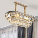 Modern Layered Oblong Pendant Lamp 8 Heads Clear Crystal Hanging Light over Island