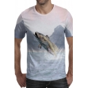 Chic T-Shirt 3D Fish Mountain Pattern Short Sleeve Round Neck Fitted T-Shirt for Men