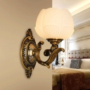 Bud Shape Bedroom Wall Sconce Lamp Vintage Opal Glass 1 Bulb Brass Wall Light Fixture