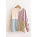 Pretty Womens Cable Knitted Colorblock Long Sleeve Crew Neck Loose Fit Pullover Sweater
