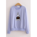 Trendy Rabbit Embroidered Long Sleeve Crew Neck Relaxed Fit Pullover Sweatshirt