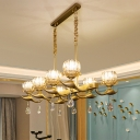 Clear Crystal Lotus Island Lamp Postmodern 8 Bulbs Dining Table Suspension Pendant in Brass