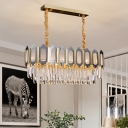 10-Light Island Light Fixture Modernist Oblong Clear Tri-Sided Crystal Rods Suspension Pendant