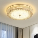 Cylindrical Flush Ceiling Light Contemporary Crystal LED Clear Ceiling Flush Mount with Ring Decoration