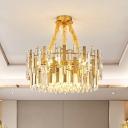 9-Head Drum Hanging Light Fixture Postmodern Gold Clear Prismatic Crystal Chandelier for Bedroom
