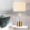 White Drum Shade Table Lamp Postmodern Fabric 1-Light Living Room Night Light with Cube Crystal Decor