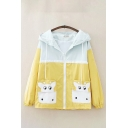 Casual Womens Flap Pockets Colorblock Long Sleeve Drawstring Hooded Zipper Front Relaxed Fit Jacket