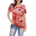 Trendy Girls Tie Dye Printed Short Sleeve V-neck Loose Fit T Shirt