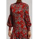 Fashion Womens Allover Flower Printed Blouson Sleeve Mock Neck Ruffle Trim Short Shift Dress in Red