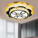 Scalloped LED Flush Ceiling Light Modern Chrome Cut Crystal Flushmount Lighting, 19.5