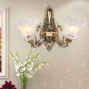 Blooming Flower Bedside Wall Mount Lamp Antique Frosted Glass 1/2-Head Brass Wall Light Sconce