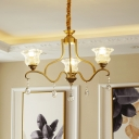Blossom Chandelier Lamp Contemporary Faceted Glass 3/6/8 Lights Gold Ceiling Hang Fixture