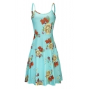 Fashion Womens Flower All-over Printed Spaghetti Straps Short Pleated Smock Slip Dress