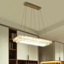 Clear Rectangle Ceiling Suspension Lamp Modern Crystal Block LED Island Light Fixture for Restaurant