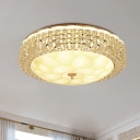 Clear Crystal-Encrusted LED Flush Light Simplicity White Bowl/Round Shade Bedroom Ceiling Mount Lamp