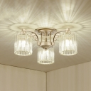 3/9-Bulb Parlor Ceiling Mounted Light Contemporary Chrome Semi Flush Chandelier with Cylindrical Crystal Shade