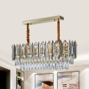 Rectangle-Cut Crystal Oval Hanging Lamp Kit Contemporary 10 Bulbs Island Pendant in Gold for Restaurant