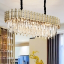 Gold Ellipse-Shape Island Lighting Modern 10-Head Prismatic Optical Crystal Ceiling Suspension Lamp