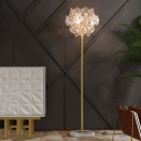 LED Hexagon Floor Lamp Contemporary Beveled Crystal Standing Light in Gold for Great Room