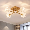 4/6 Bulbs Bedroom Semi Flush Light Modern Gold Ceiling Mounted Fixture with Cubic Crystal Shade