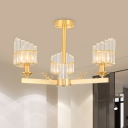 3/6 Bulbs Crystal Rod Semi Chandelier Classic Style Gold Bevel-Shape Dining Room Ceiling Light Fixture